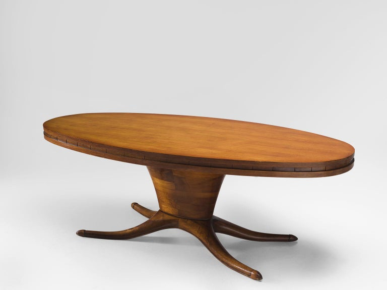 Dining table, walnut, Italy 1950s.