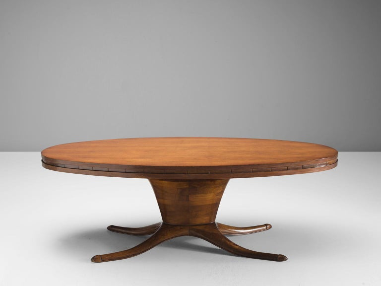 Italian Midcentury Oval Centre Table in Walnut, circa 1950 For Sale