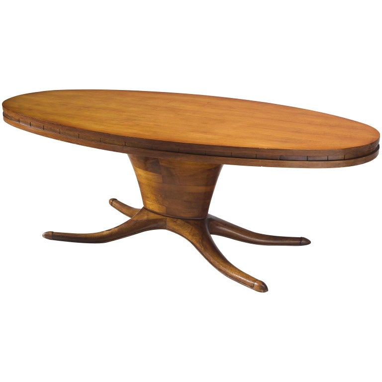 Midcentury Oval Centre Table in Walnut, circa 1950 For Sale
