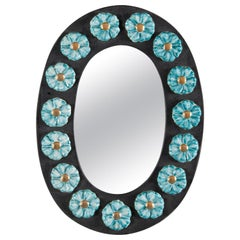 Midcentury Oval Ceramic Mirror with Flowers