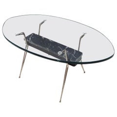 Midcentury Oval Glass Coffee Table with Portoro Marble, Italy
