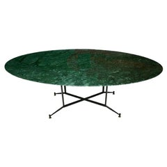 Midcentury Oval Green Marble Italian Dining Table, Italy, 1950
