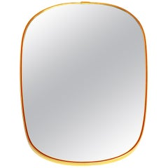 Midcentury Oval Shaped Brass Mirror, 1950s
