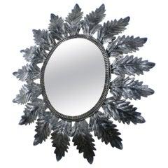 Midcentury Oval Sunburst Mirror by Deknudt, Belgium, circa 1950