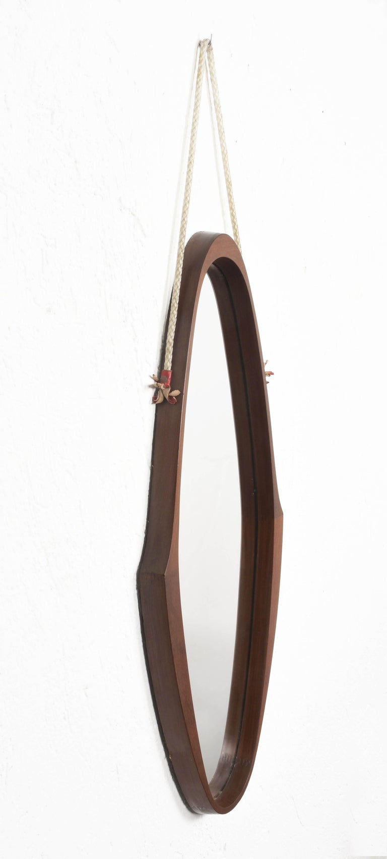 Midcentury Oval Teak, Nylon Rope and Leather Italian Wall Framed Mirror, 1960s For Sale 6