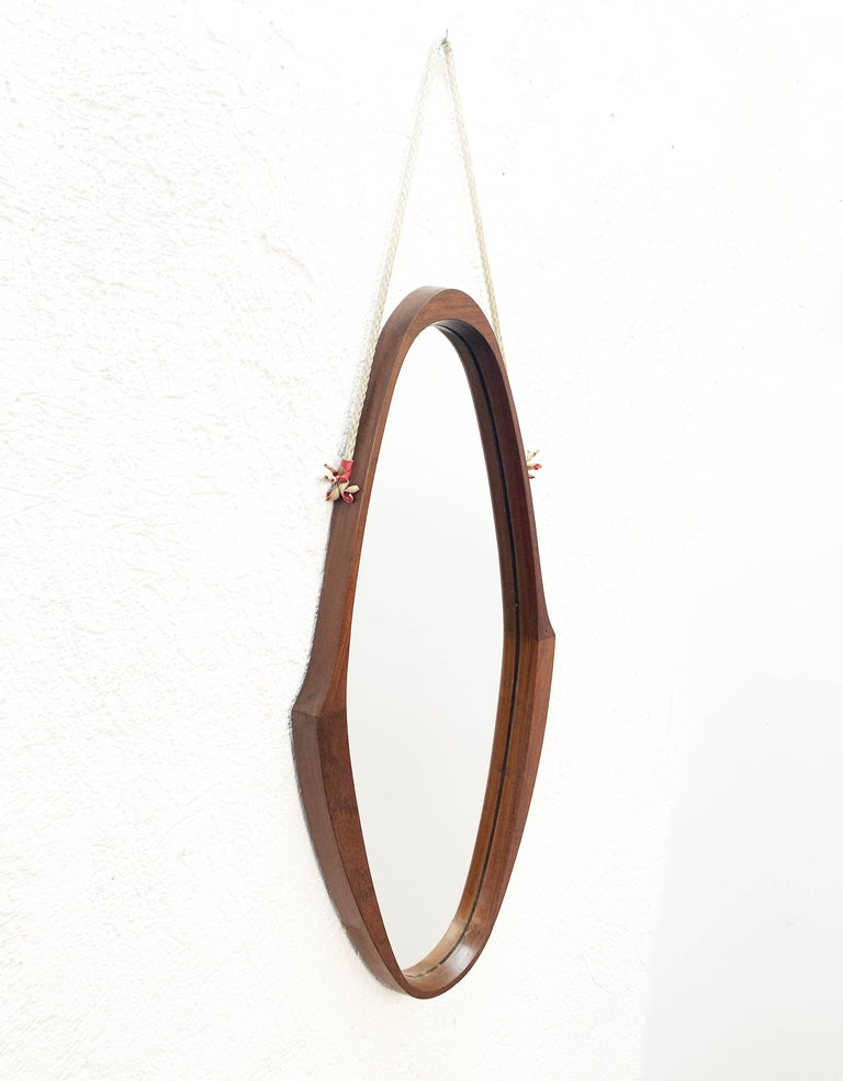 Midcentury Oval Teak, Nylon Rope and Leather Italian Wall Framed Mirror, 1960s For Sale 8