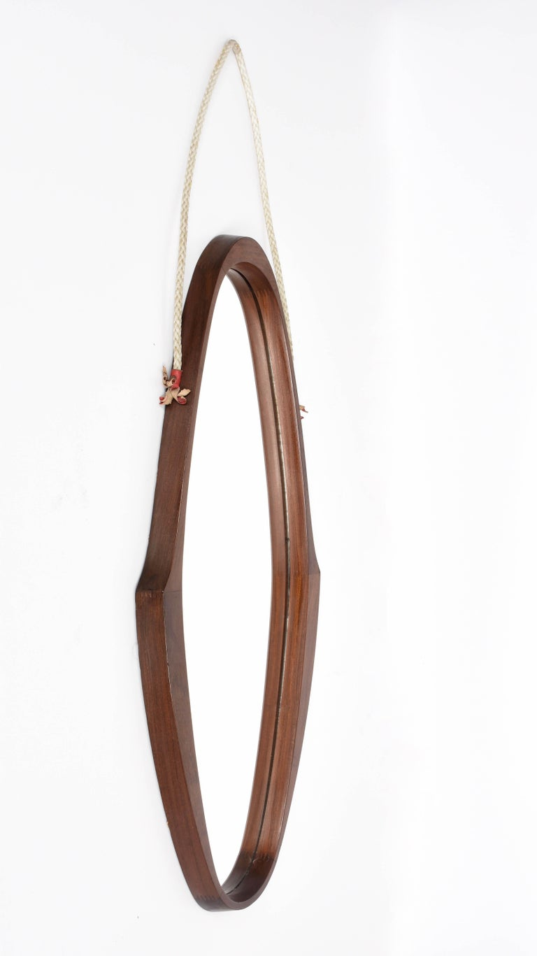 Mid-Century Modern Midcentury Oval Teak, Nylon Rope and Leather Italian Wall Framed Mirror, 1960s For Sale