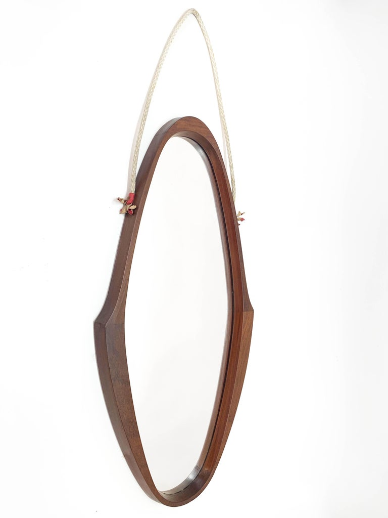 Midcentury Oval Teak, Nylon Rope and Leather Italian Wall Framed Mirror, 1960s For Sale 2