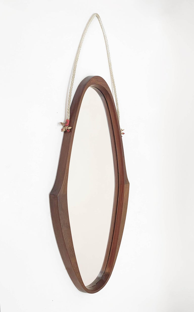 Midcentury Oval Teak, Nylon Rope and Leather Italian Wall Framed Mirror, 1960s For Sale 3