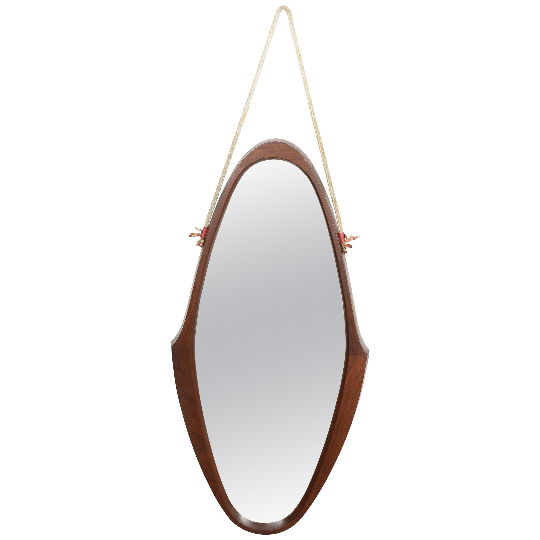 Midcentury Oval Teak, Nylon Rope and Leather Italian Wall Framed Mirror, 1960s