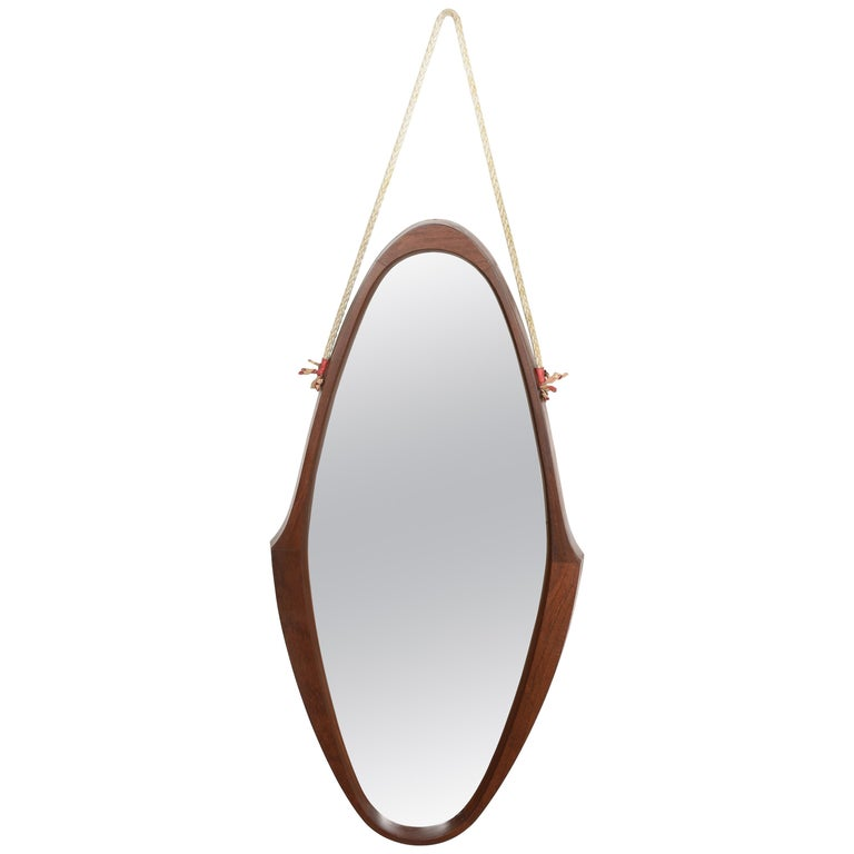 Midcentury Oval Teak, Nylon Rope and Leather Italian Wall Framed Mirror, 1960s For Sale