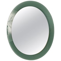 Midcentury Oval Wall Glass Framed Mirror Attributed to Cristal Art, Italy, 1960s