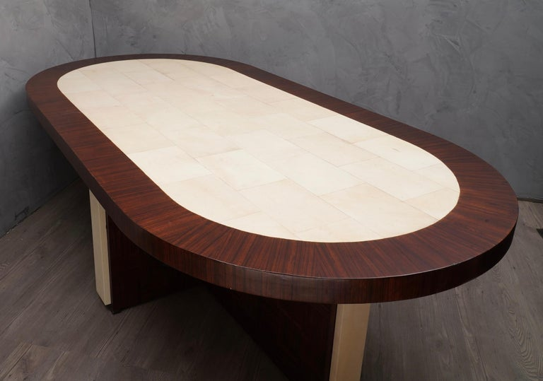 Mid-Century Modern Midcentury Oval Zebrano Wood and Goatskin Italian Table, 1950 For Sale