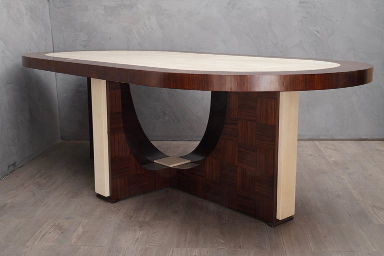 Mid-20th Century Midcentury Oval Zebrano Wood and Goatskin Italian Table, 1950 For Sale