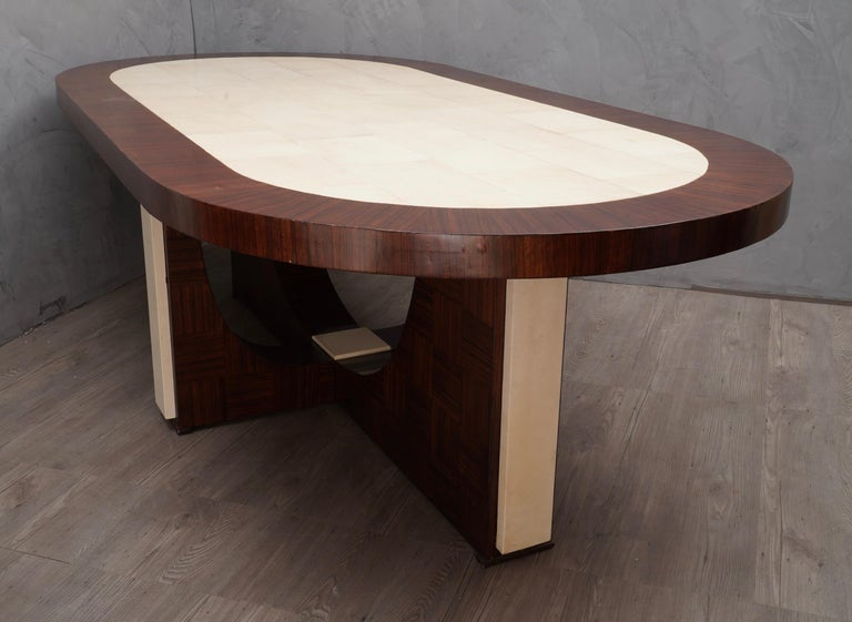 Midcentury Oval Zebrano Wood and Goatskin Italian Table, 1950 For Sale 2