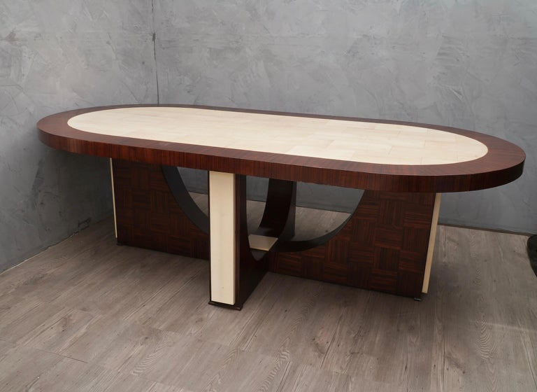 Midcentury Oval Zebrano Wood and Goatskin Italian Table, 1950 For Sale 4