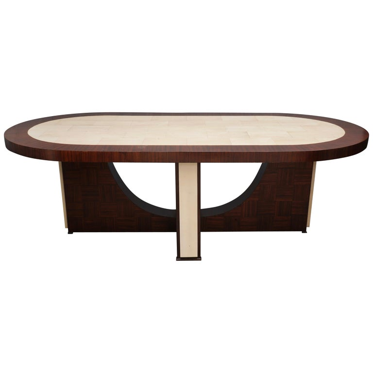 Midcentury Oval Zebrano Wood and Goatskin Italian Table, 1950 For Sale