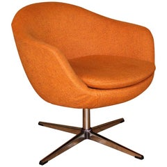 Midcentury Overman Carl Eric Klote Swedish Swivel Chair