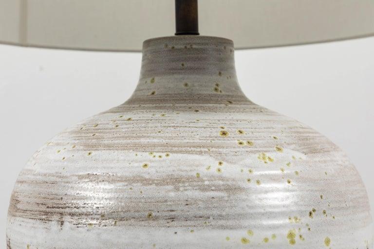 Midcentury Oversized Cream Ceramic Table Lamp With Large White Linen