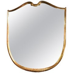 Midcentury Oversized Gold Leaves Wall Mirror Italian Design, 1950s