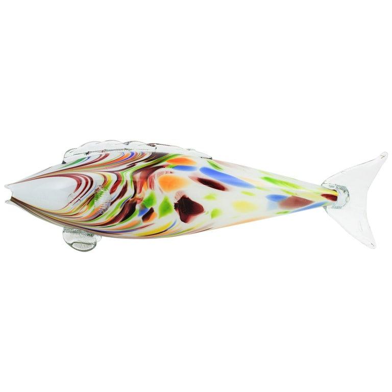 Italian Midcentury Oversized Murano Multicolor Glass Fish Sculpture For Sale