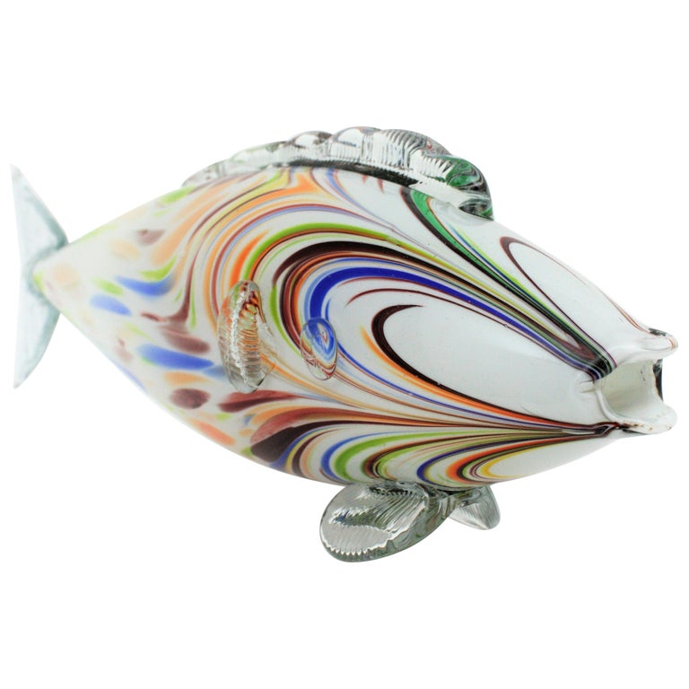 Midcentury Oversized Murano Multicolor Glass Fish Sculpture For Sale