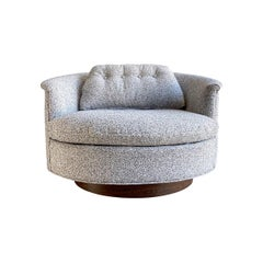 Midcentury Oversized Swivel Lounge Chair, Round Barrel Back by Selig Imperial