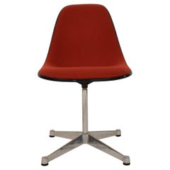 Midcentury Padded Red Side /Pedestal Chair by Eames by Vitra for Herman Miller