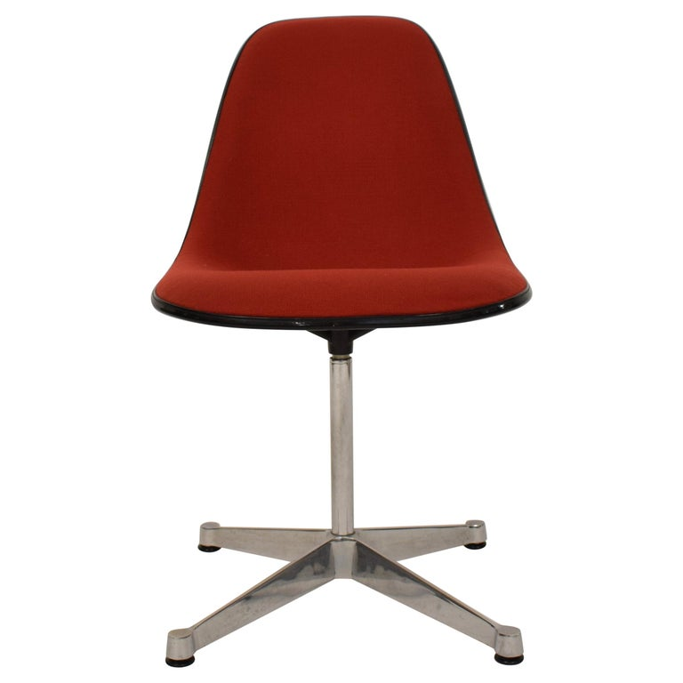 Midcentury Padded Red Side /Pedestal Chair by Eames by Vitra for Herman Miller For Sale