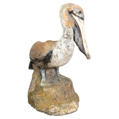 Midcentury Painted Concrete Pelican Sculpture on Base with Distressed Patina