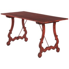 Spanish Painted Red Mid Century Pine Table 1950s