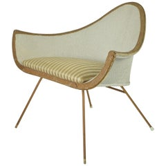 Midcentury Painted Woven Fibre Chair, English, circa 1950