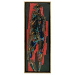 Standing Figure, Mid-Century Modern Painting and Collage on Board, A.C.Telepneff
