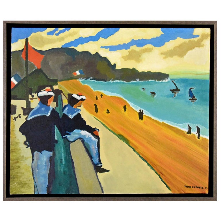 Midcentury Painting French Riviera Sailors at the Beach M van de Putte, 1960 For Sale