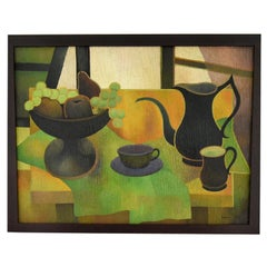 Midcentury Painting Still Life with Coffeepot by Albert Labachot, France, 1976