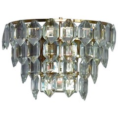 Midcentury Bakalowits Sconces Faceted Crystal Glass Silver Metal Wall Lamps Pair