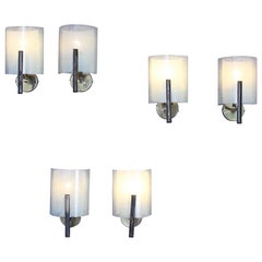 Mid-Century Stilux  Set of 6  Opal Glass Wall Sconces Milano 1960s