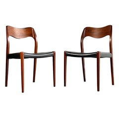 Midcentury Pair, JL Moller Model 71 Dining Chairs in Rosewood, Made in Denmark