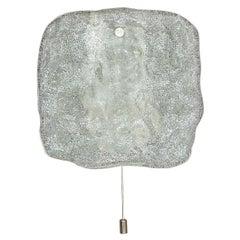 Midcentury Pair of Kalmar White Pulegoso Ice Glass Metal Sconces Wall Lights