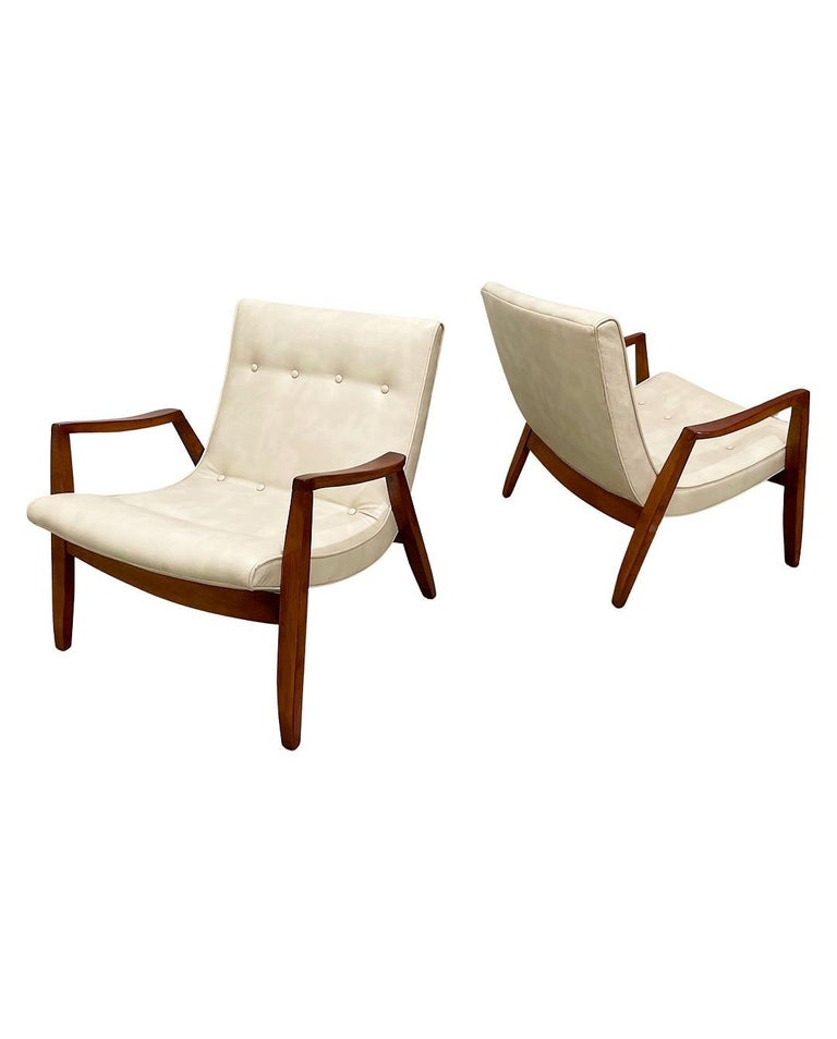 Midcentury Pair Milo Baughman Scoop Lounge Chairs for James Inc, Circa 1953 In Good Condition For Sale In Framingham, MA