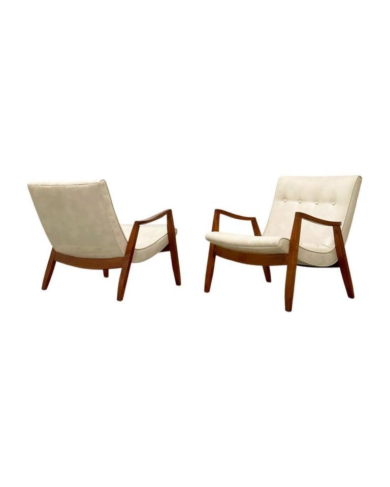 Naugahyde Midcentury Pair Milo Baughman Scoop Lounge Chairs for James Inc, Circa 1953 For Sale