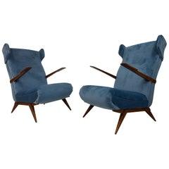 Midcentury Pair of 1950s Italian Armchairs in Blue Velvet