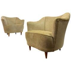 Midcentury Pair of 1950s Italian Club Armchairs in Beige