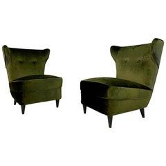 Midcentury Pair of 1950s Italian Slipper Lounge Chairs in Green Velvet