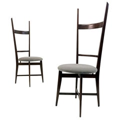 Midcentury Pair of 1960s Italian Teak High Back Chairs