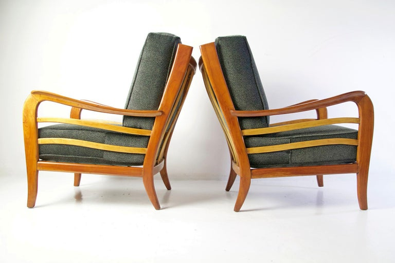 Midcentury Pair of Armchairs in Cherry and Maple by Paolo Buffa, Italy For Sale 5