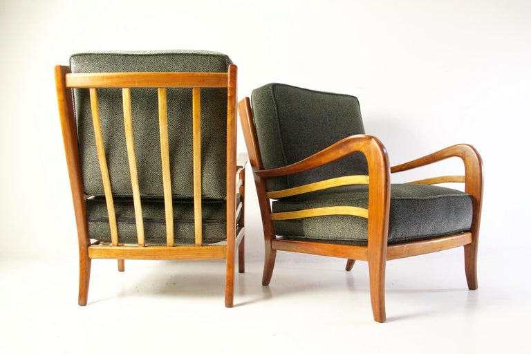 Midcentury Pair of Armchairs in Cherry and Maple by Paolo Buffa, Italy For Sale 6