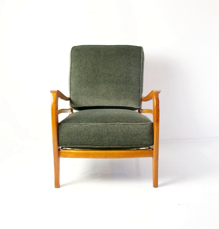 Pair of armchairs by Paolo Buffa, Italy with a wood frame in cherry and maple and reupholstered in Italian high quality upholstery velvet. The entire chair has been refinished in the wood as well. Paolo Buffa is an Italian designer and architect.