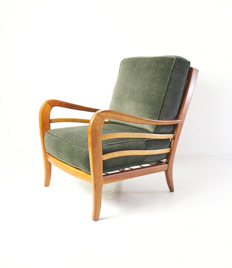 Mid-Century Modern Midcentury Pair of Armchairs in Cherry and Maple by Paolo Buffa, Italy For Sale
