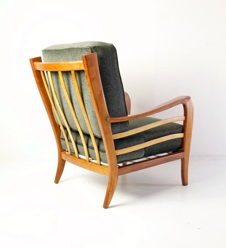 Velvet Midcentury Pair of Armchairs in Cherry and Maple by Paolo Buffa, Italy For Sale